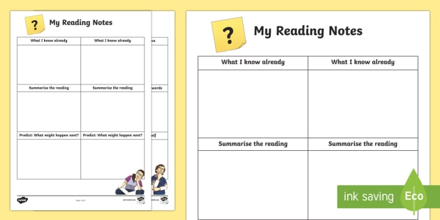 Reading Notes Activity Sheet-Scottish - CfE Literacy, reading comprehension strategies, reading notes, notes, Scottish, worksheet