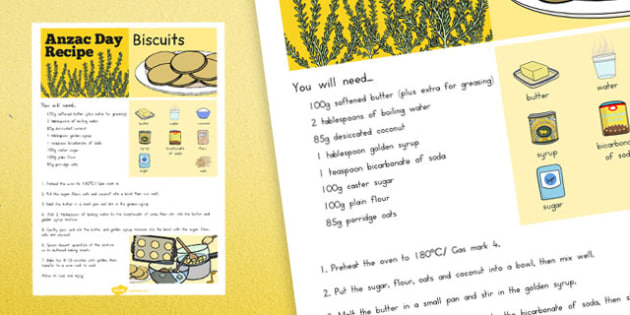 Anzac Biscuit Recipe Sheet - australia, anzac, biscuit, recipe