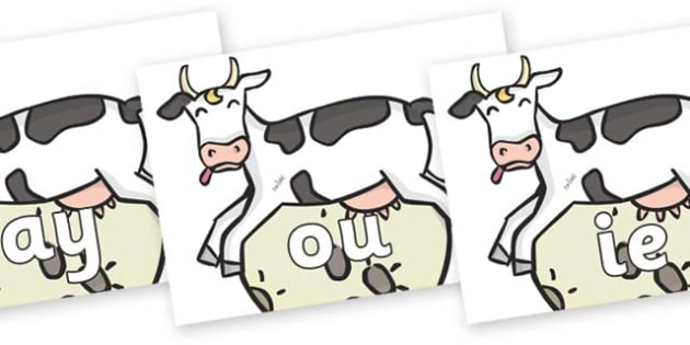 Phase 5 Phonemes on Cow and Moon - Phonemes, phoneme, Phase 5, Phase five, Foundation, Literacy, Letters and Sounds, DfES, display
