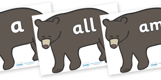 Foundation Stage 2 Keywords on Grizzly Bears - FS2, CLL, keywords, Communication language and literacy,  Display, Key words, high frequency words, foundation stage literacy, DfES Letters and Sounds, Letters and Sounds, spelling