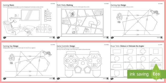 Space at Home Angles GCSE Grades 1-3 Activity Sheets - space at home, angles, gcse, grades, 1-3, grades 1-3, activity