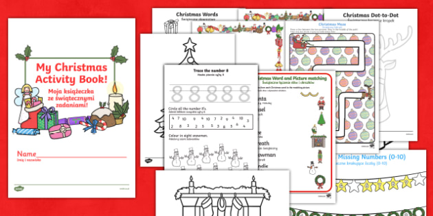 Christmas Activity Book English/Polish - Christmas Activity Book - christmas, activity, book, holiday, christmas activity, chritmas, chriatma