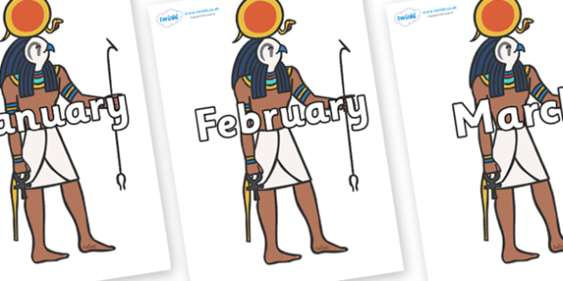 Months of the Year on Egyptian Figures - Months of the Year, Months poster, Months display, display, poster, frieze, Months, month, January, February, March, April, May, June, July, August, September