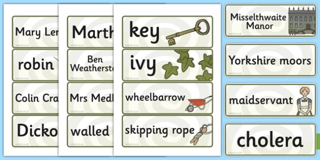 The Secret Garden Word Cards - word cards, cards, secret, garden