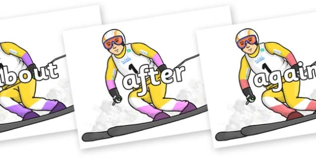 KS1 Keywords on Alpine Skating - KS1, CLL, Communication language and literacy, Display, Key words, high frequency words, foundation stage literacy, DfES Letters and Sounds, Letters and Sounds, spelling