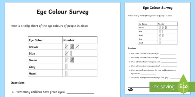 Eye Colour Tally Frequency Table Activity Sheet - eye colour tally chart, tally chart, tally chart worksheet, frequency table worksheet, reading tally charts
