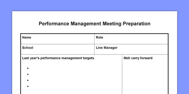 Performance Management Meeting Preparation - performance, management, meeting, preparation