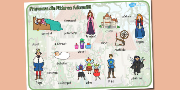Frumoasa din Padurea Adormita,Plansa cu imagini si cuvinte, Romanian