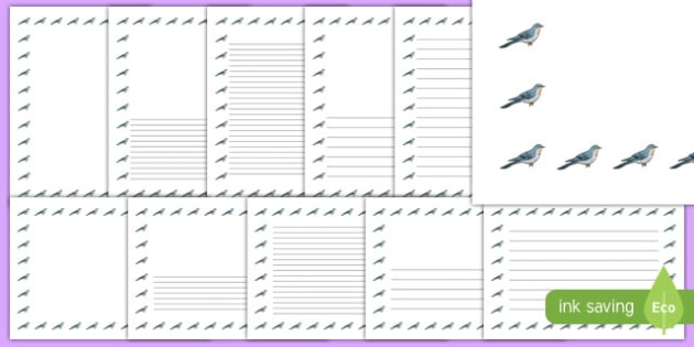 Cuckoo Page Borders - cuckoo, page borders, bird, border, writing frame
