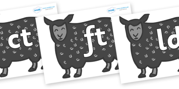 Final Letter Blends on Black Sheep to Support Teaching on Brown Bear, Brown Bear - Final Letters, final letter, letter blend, letter blends, consonant, consonants, digraph, trigraph, literacy, alphabet, letters, foundation stage literacy