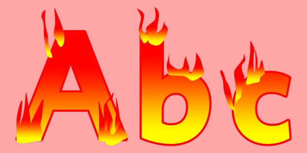 Display Lettering & Symbols (Fire) - Display lettering, display letters, alphabet display, letters to cut out, letters for displays, coloured letters, coloured display, coloured alphabet