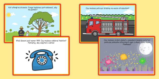 Karty z wyzwaniami Straż pożarna po polsku - pożar, strażak