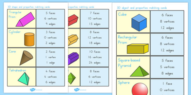 3D Shape and Properties Matching Cards - australia, 3d, shape