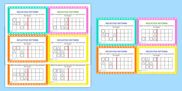 Reflective Patterns Maths Challenge Cards - reflect, patterns