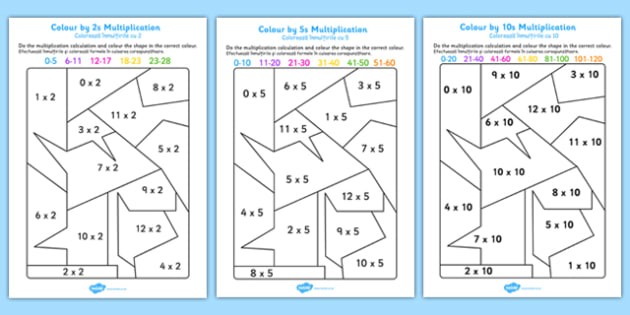 Colour by 2s, 5s, 10s Multiplication Romanian Translation - romanian