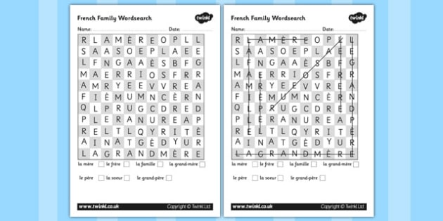 French Family Members Wordsearch - worksheets, families, search