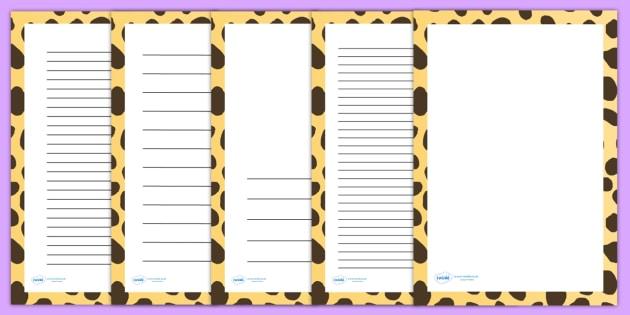Cheetah Print Page Borders - writing templates, writing frames