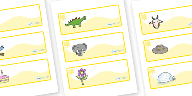 Yellow Themed Editable Drawer-Peg-Name Labels - Themed Classroom Label Templates, Resource Labels, Name Labels, Editable Labels, Drawer Labels, Coat Peg Labels, Peg Label, KS1 Labels, Foundation Labels, Foundation Stage Labels, Teaching Labels