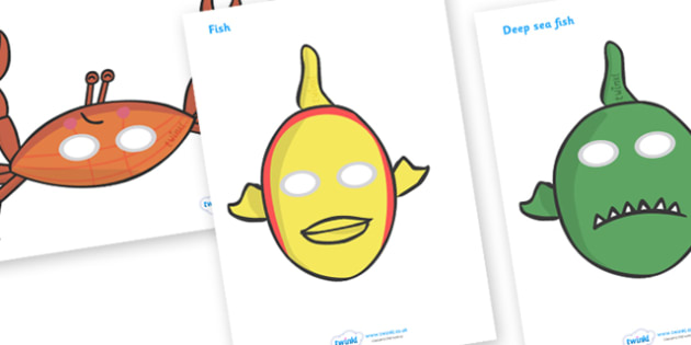 Story Role Play Masks to Support Teaching on Commotion in the Ocean - Story, book, resources, Giles Andreae, David Wojtowycz, role play, mask, masks, activity, teaching resources, book resources, sea creatures, sea, book resource