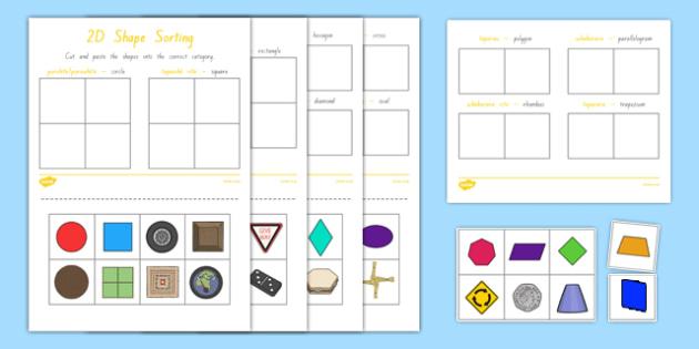 2D Shape Sorting Activity Sheet, worksheet