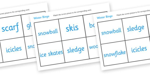 Winter Bingo - Winter, bingo, lotto, game, activity, penguin, huskey, snow, winter, frost, cold, ice, hat, gloves