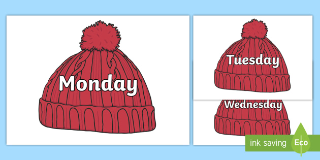 Days of the Week on Woolly Hats (Plain) - Days of the Week, Weeks poster, week, display, poster, frieze, Days, Day, Monday, Tuesday, Wednesday, Thursday, Friday, Saturday, Sunday