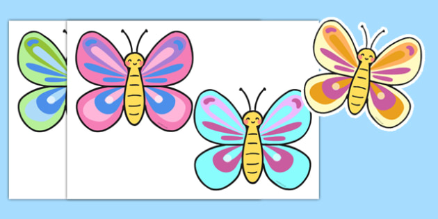 Colourful Butterfly Cut Out - colourful, butterfly, cut out, activity, minibeast