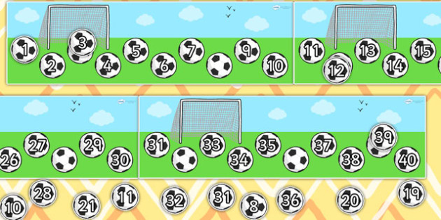Missing Number Football Strip Number Line 0 40 - count, counting