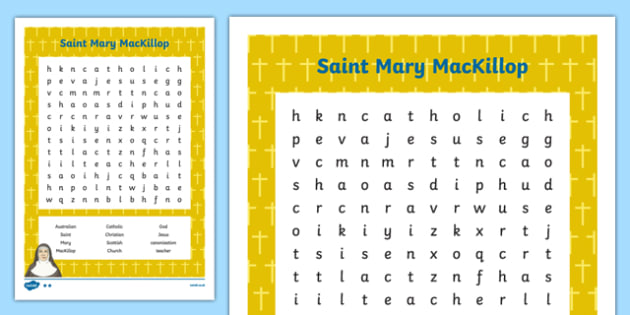 Saint Mary MacKillop Word Search-Australia
