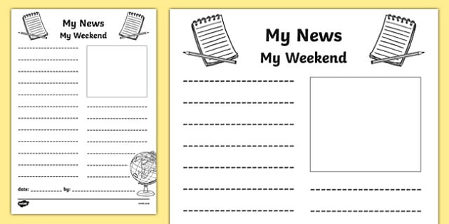 My Weekend Newspaper Writing Template - Mt Weekend Newspaper, My