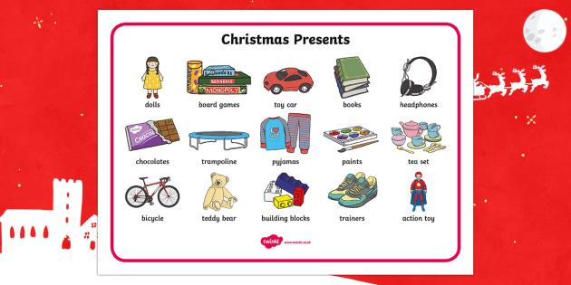 Christmas Presents Word Mat - Christmas, xmas, presents, present, writing about christmas, what I'd like for christmas, word mat, writing aid, tree, advent, nativity, santa, father christmas, Jesus, tree, stocking, present, activity, cracker, angel,