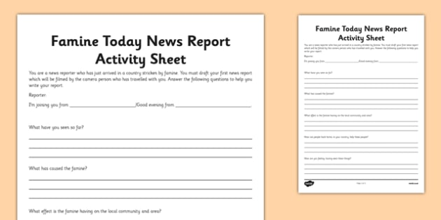 Famine Today News Report Activity Sheet - Famine, Modern, Today