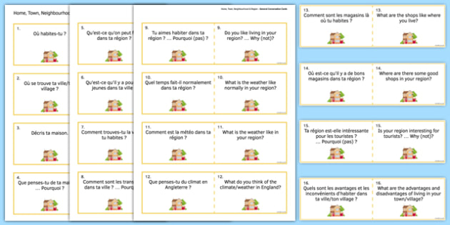 General Conversation Question Double Sided Cards French English Home Town Neighbourhood and Region - french, Conversation, Speaking, Questions, Home, House, Maison, Town, Ville, Village, Region, Neighbourhood, Cards, Cartes