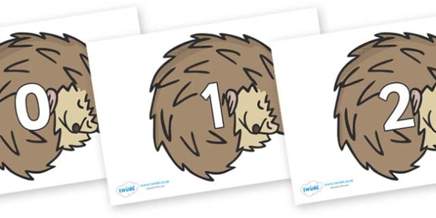 Numbers 0-100 on Hedgehogs - 0-100, foundation stage numeracy, Number recognition, Number flashcards, counting, number frieze, Display numbers, number posters