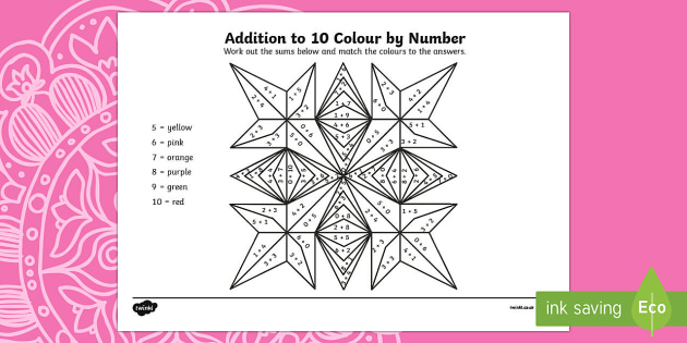 Rangoli Patterns Addition to 10 Colour by Number