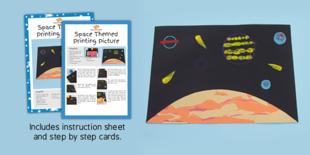 Space Themed Printing Picture Craft Instructions - spaceship
