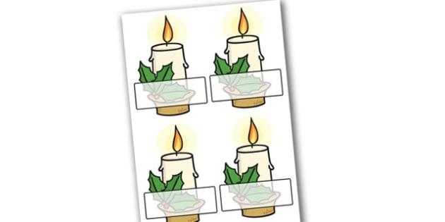 Christmas Editable Self Registration Candles - christmas, xmas, self registration, christmas candles, editable candles, self registration candles, self-registration, editable, editable labels, editable self registration labels, labels, registration,