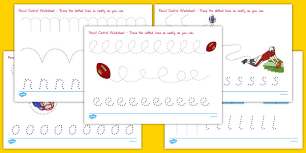NFL Themed Pencil Control Worksheets - usa, nfl, national football league, american football, pencil control