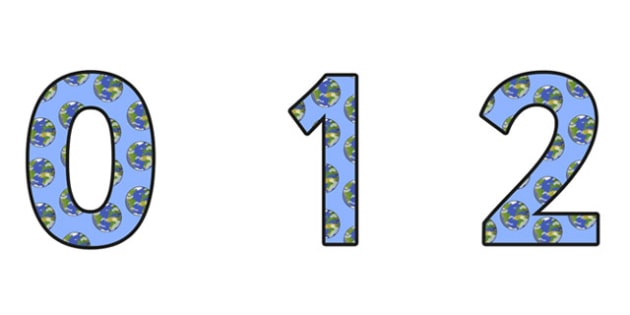 The Earth Display Numbers - the earth, the earth display, the earth themed numbers, the earth numbers, the earth 0-9 numbers, the earth themed display