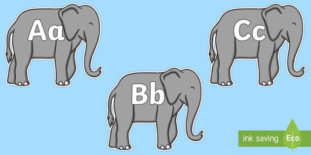 A-Z Alphabet on Elephants to Support Teaching on Elmer - A-Z, A4, display, Alphabet frieze, Display letters, Letter posters, A-Z letters, Alphabet flashcards