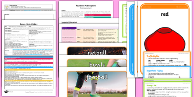 Foundation PE (Reception) - Games - Best of Balls Lesson pack 4: Rackets Bats Sticks and Balls - EYFS, PE, Physical Development, Planning