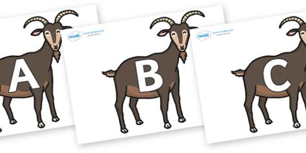 A-Z Alphabet on Big Billy Goats - A-Z, A4, display, Alphabet frieze, Display letters, Letter posters, A-Z letters, Alphabet flashcards