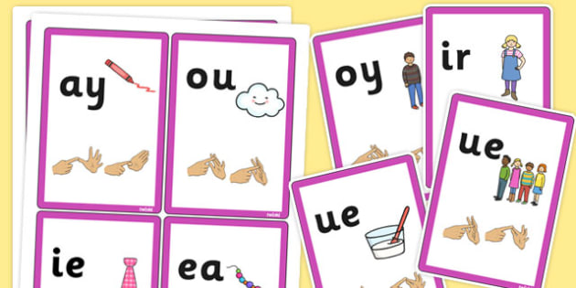 Phase 5 Final Sound Flash Cards with British Sign Language - sign