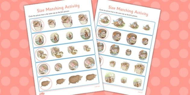 The Tale of Mrs Tiggy Winkle Size Matching Worksheets - mrs tiggy winkle
