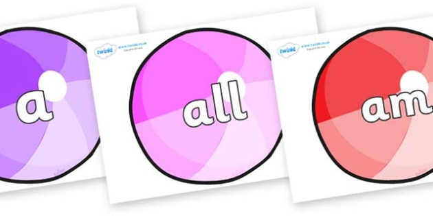 Foundation Stage 2 Keywords on Beachballs - FS2, CLL, keywords, Communication language and literacy,  Display, Key words, high frequency words, foundation stage literacy, DfES Letters and Sounds, Letters and Sounds, spelling