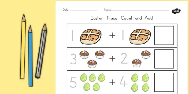 Easter Trace Count and Add Worksheet - australia, easter, count