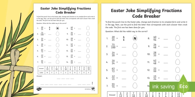 Easter Joke Simplifying Fractions Code Breaker Activity Sheet - NI, Easter, fractions, simplifying, numeracy, joke, code, breaking,Identify, name and write equivale