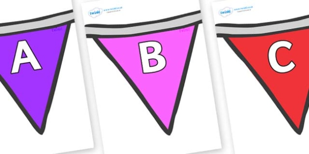 A-Z Alphabet on Bunting  (Multicolour) - A-Z, A4, display, Alphabet frieze, Display letters, Letter posters, A-Z letters, Alphabet flashcards