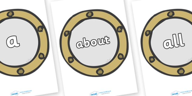 100 High Frequency Words on Portholes - High frequency words, hfw, DfES Letters and Sounds, Letters and Sounds, display words