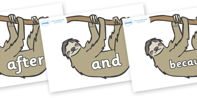 Connectives on Sloths - Connectives, VCOP, connective resources, connectives display words, connective displays